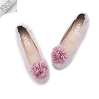 Picture of Mango Ribbon Genuine Leather Flats with Detachable Rosette 1022987792 (Flat Shoes, Mango Ribbon Shoes, Korea Shoes, Womens Shoes, Womens Flat Shoes)
