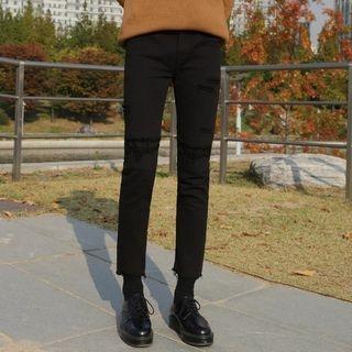 Frayed Slim-Fit Pants