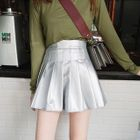 Pleated Faux Leather Mini Skirt 1596