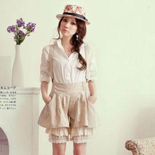 Buy YUMI Lace-Hem Jumpsuit Coffee, White- One Size 1022973039