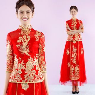 Image of Elbow-Sleeve Embroidery Cheongsam