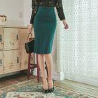 Pleated Midi Pencil Skirt 1596