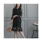 Frilled-Trim Color-Block Dress 1596