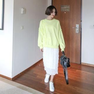 Band-Waist Fringed Long Skirt 1064417606