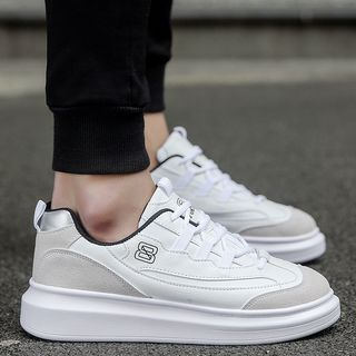 Image of Faux-Leather Platform Sneakers