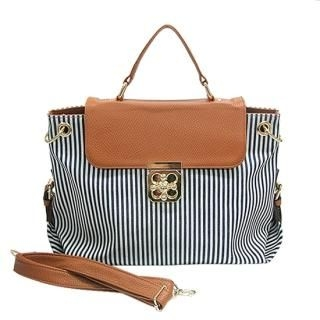 Buy AKA Faux-Leather Trim Stripe Tote Bag with Shoulder Strap 1022859676