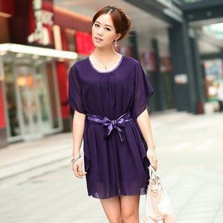 Buy Aza Batwing-Sleeve Chiffon Dress with Sash Purple – One Size 1022931306