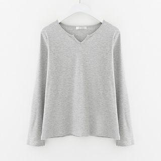 Long Sleeve Notch Neck Ribbed T-Shirt 1053859712