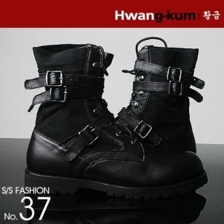 Picture of Hwang Kum Style Belt Detailed Boots 1010711233 (Boots, Hwang Kum Style Shoes, Korea Shoes, Mens Shoes, Mens Boots)