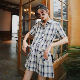 Image of Plaid Short-Sleeve Mini Collared Dress