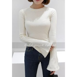 Bell-Sleeve Ribbed Slim-Fit T-Shirt 1056943922
