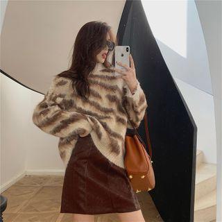 Zebra Print Sweater / Mini A-line Skirt