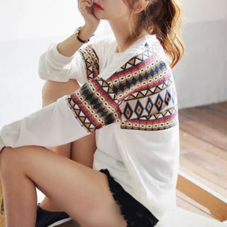 Patterned Panel Long-Sleeve T-shirt 1045953884
