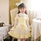 Kids Lace Panel Long Sleeve Dress 1596