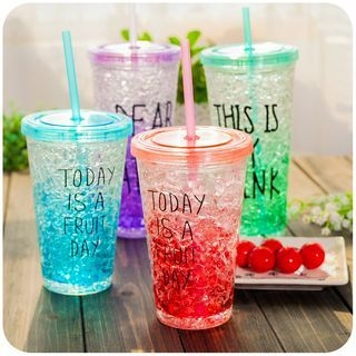 Lettering Drinking Cup with Straw 1049638749