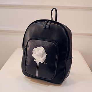 Rose Print Faux Leather Backpack