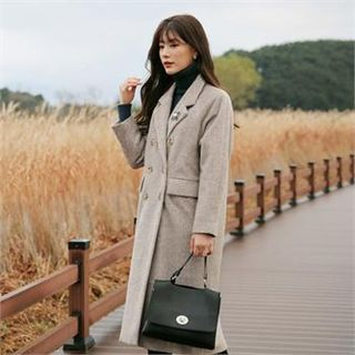 Image of Double-Breasted Wool Blend Long Coat