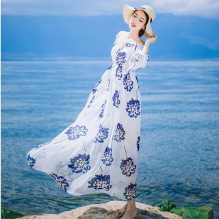 Off-Shoulder Long-Sleeved Floral Print Tie-Waist Chiffon Sheath Dress 1062039720