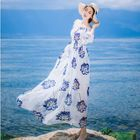 Off-Shoulder Long-Sleeved Floral Print Tie-Waist Chiffon Sheath Dress 1596