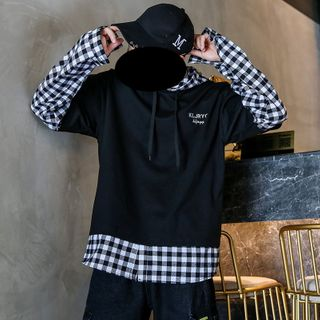 Image of Couple Matching Mock Two-Piece Checked Hoodie