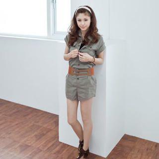 Buy LULUS Short-Sleeve Playsuit with Belt 1023056540