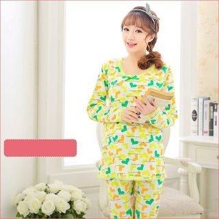 Maternity Pajama Set: Printed Nursing Top + Pants