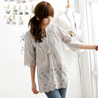 Picture of MYHEART Embroidered-Bib Eyelet-Lace Tunic 1023058770 (MYHEART Dresses, Womens Dresses, Taiwan Dresses, Tunics)
