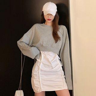 Spaghetti | Pullover | Strap | White | Dress | Back | Gray | Size | One