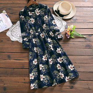 Corduroy Floral A-Line Midi Dress 1063580226
