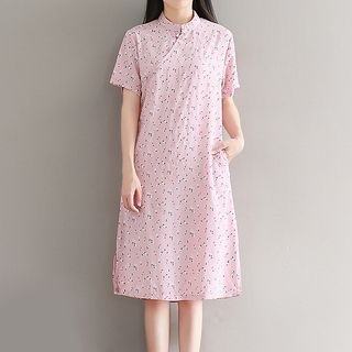 Floral Print Short Sleeve Mandarin Collar Dress 1061011164