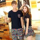 Couple Matching Set: Short-Sleeve T-Shirt + Floral Print Shorts / Skirt 1596