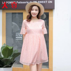 Maternity Short-Sleeve Lace Panel Dress 1596