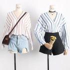 Striped V-Neck Long-Sleeve Shirt 1596