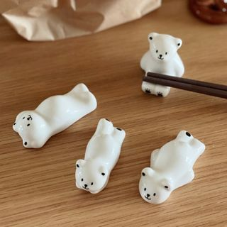 Image of Bear Ceramic Chopsticks Rest Set of 4 - Bear - White - One Size
