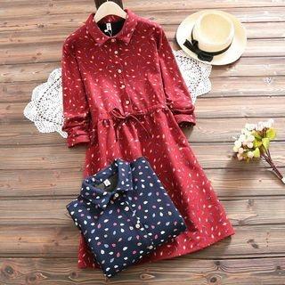 Long-Sleeve Tie-Waist Printed Dress 1064679879