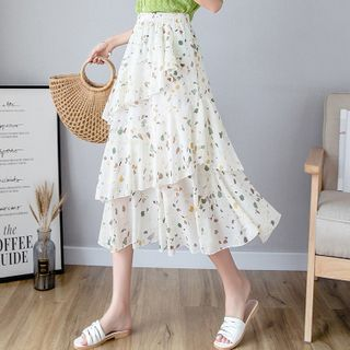 Image of Floral Tiered Midi Skirt