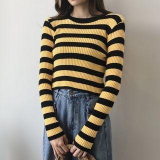Striped Rib Knit Top 1062748535