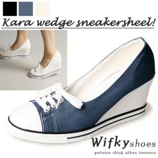 Picture of Wifky Lace-Up Wedge Sneakers 1022967520 (Sneakers, Wifky Shoes, Korea Shoes, Womens Shoes, Womens Sneakers)