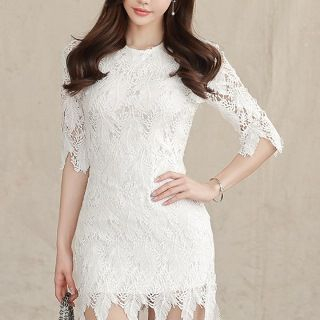 Elbow-Sleeve Lace Sheath Dress 1064011521