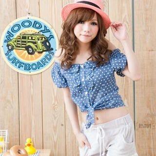 Buy ZOO Off-Shoulder Polka Dot Blouse 1022780713