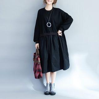 Long-Sleeve Round-Neck Midi Dress 1063955957