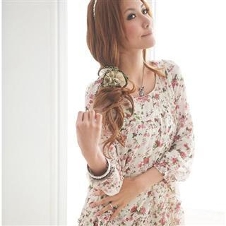 Buy LOYER.mod Lace Hem Floral Pattern Chiffon Dress 1022423396