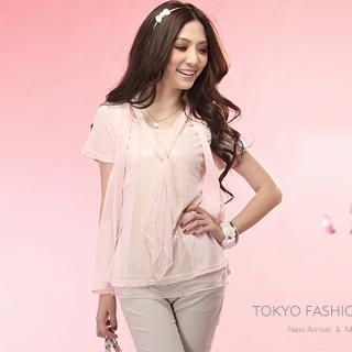 Buy Tokyo Fashion Mesh Overlay Short-Sleeve Sequined Top 1023027591