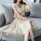 Set: Floral Print Elbow-Sleeve A-Line Dress + Strappy Dress 1596
