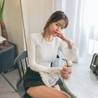 Lace-Cuff Ribbed Slim-Fit Top 1596