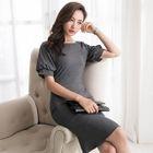 Plain Short Sleeve Ruffle Hem Dress 1596