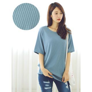 Elbow-Sleeve Ribbed T-Shirt 1051178831
