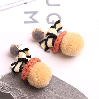 Image of Bow Pom Pom Earring