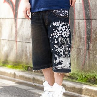 Picture of Buden Akindo Denim Shorts - Jumping Koi 1022536602 (Buden Akindo, Mens Denim, Japan)