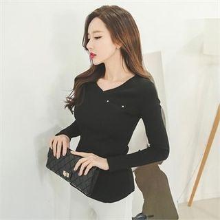 V-Neck Slim-Fit Ribbed T-Shirt 1056043780